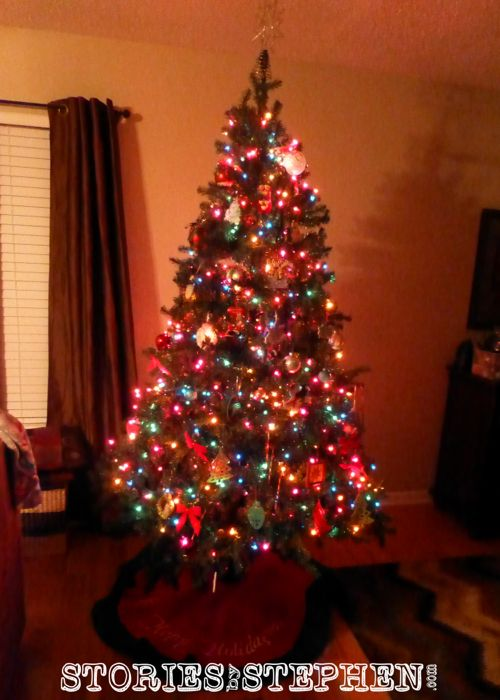 Our Christmas tree in 2013 Kokomo, IN. It is full of both purchased and personal ornaments.