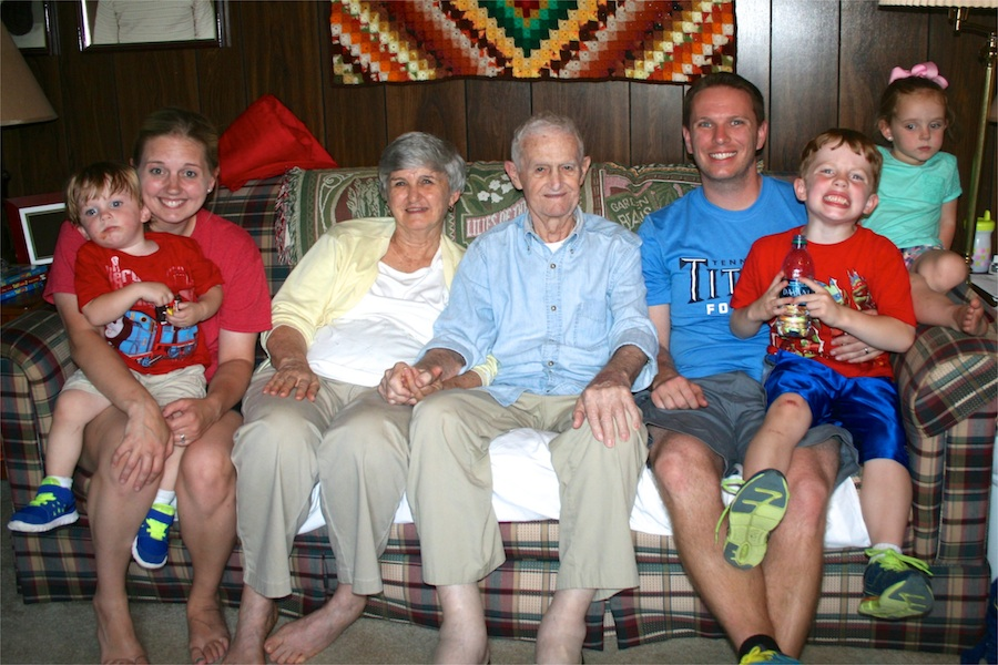 Jennifer, Grandmama, Granddaddy, me, Will & Julie Beth in our last picture with Granddaddy, taken on Memorial Day 2014.