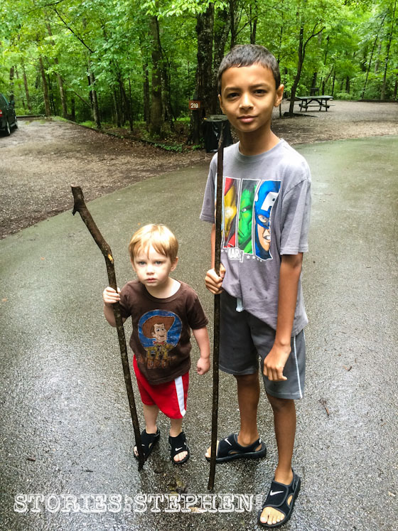 """Sam and Kalon quickly found """"spears"""" as soon as we got out of the car at the campground."""