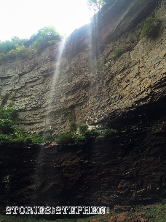 View of the 256-foot Fall Creek Falls from the bottom. For some reason the water flow was weak last week even after all the rain.