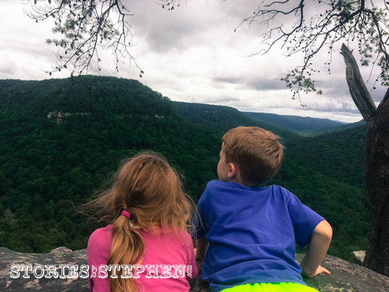 Julie Beth & Will gazing out from the edge of Buzzard's Roost.