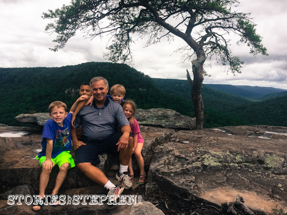 Papa (my Dad) and the kids atop Buzzard's Roost.