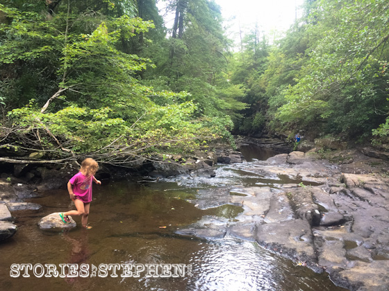 Julie Beth was not afraid to get wet and dirty hiking through Piney Creek.