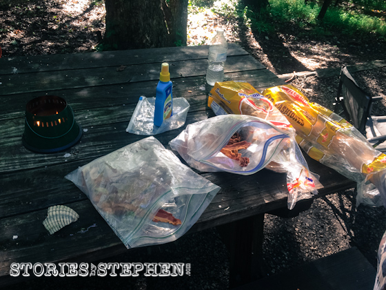 We ate ALOT of bacon on this camping trip. We did cook a few meals, but for this easy breakfast, we simply ate cold bacon and bread.