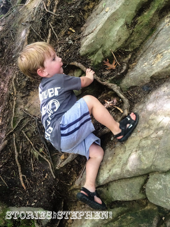 Sam acted like a pro when it came to climbing rocks!