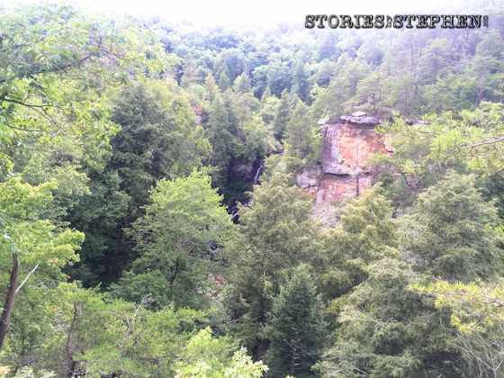 A distant view of 95-foot Piney Creek Falls