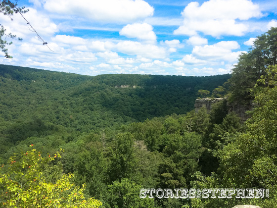 The rock ledge toward the top right is Buzzard's Roost, as seen from the nearby Millikan Overlook.