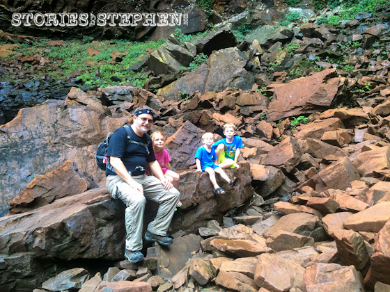 Pop-O with his grandkids at the bottom of Fall Creek Falls.