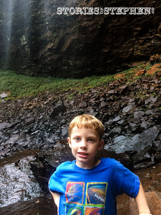 Will would have tried to climb up the huge waterfall if I let him.