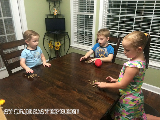 The kids got to practice their counting skills during this family activity.