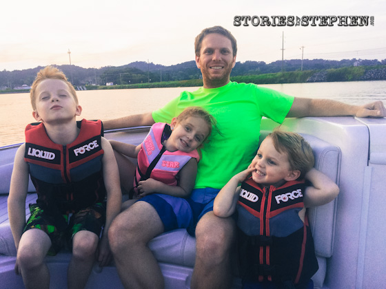 Me and my kids out on the boat.