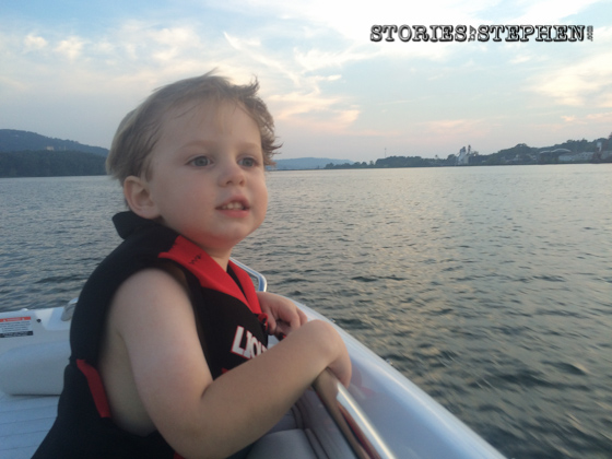 Sam looking at all the other boats on the lake.