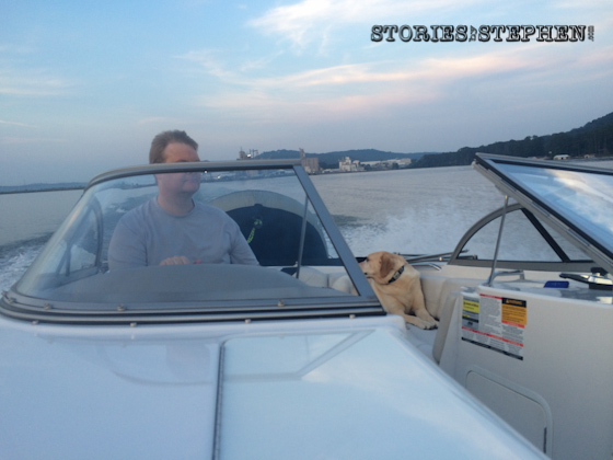 Jason driving the ski boat.