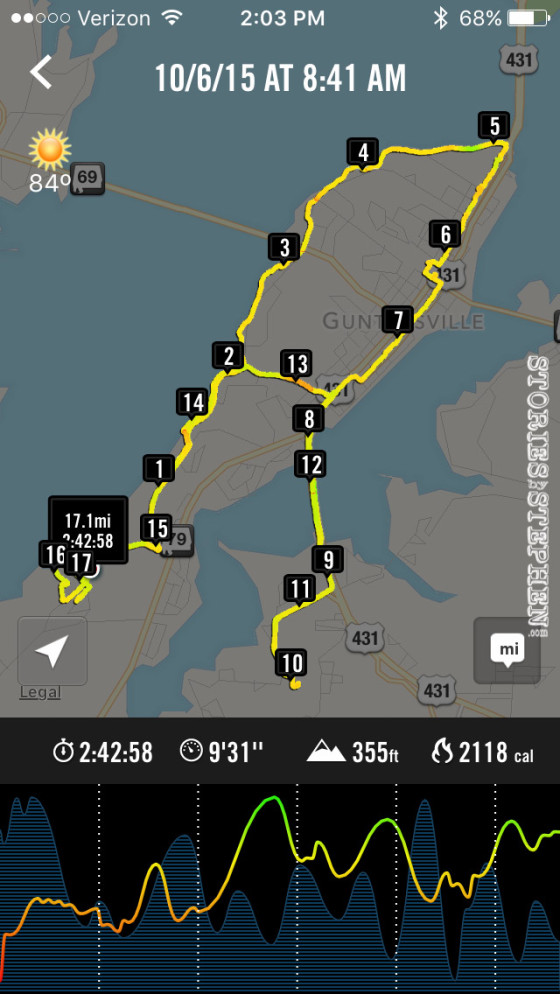 I basically ran the whole city of Guntersville, AL on this 17-mile long slow run!