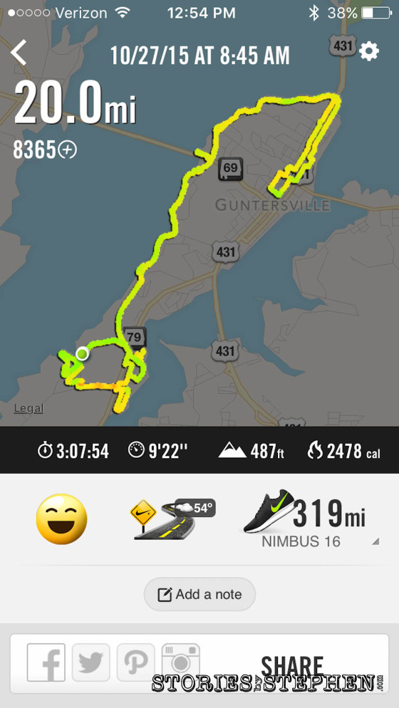 Here is the run summary from the Nike+ Running app.