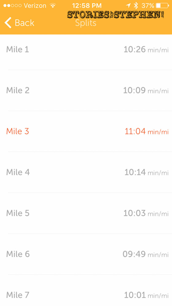 Here are my mile splits from Runkeeper (which are sometimes slightly different than Nike+).