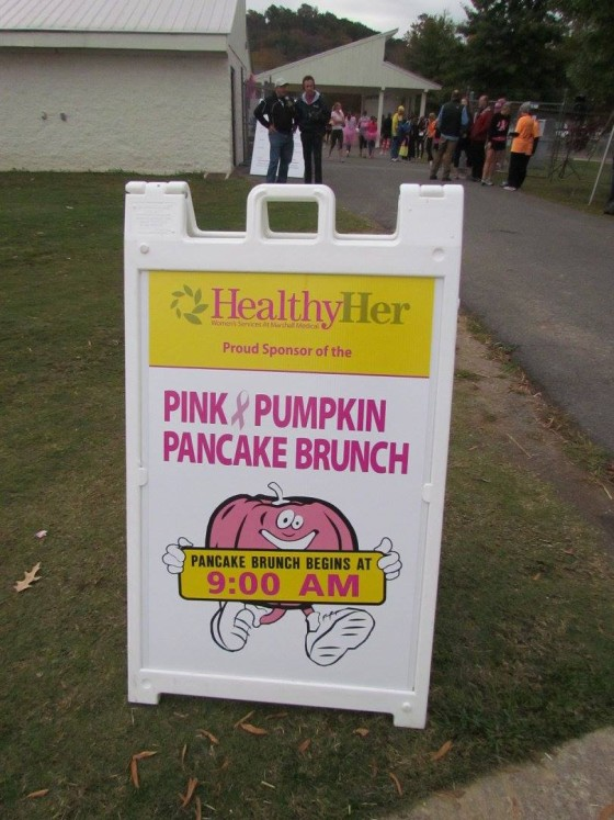 Everything is very well labeled at the 2015 Pink Pumpkin Run. Photo Credit: