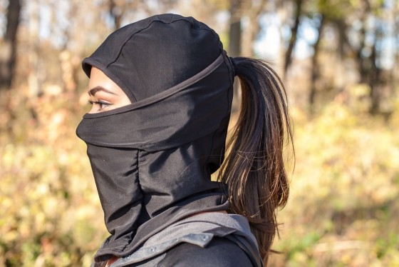 This balaclava also provides a ponytail hole for women (or men) with long hair.