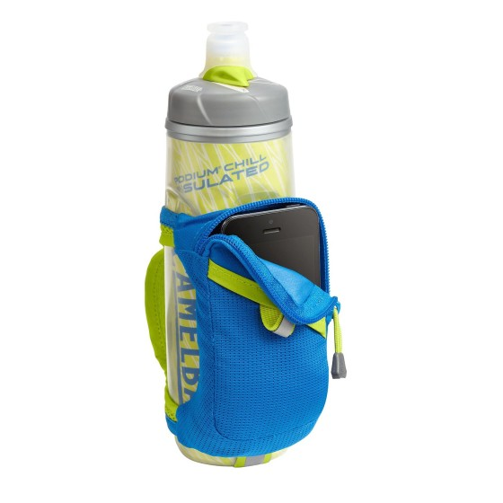 The CamelBak Quick Grip Chill Handheld Water Bottle is perfect for carrying water on long runs and hot weather runs.