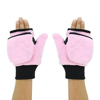 These pink fleece flip-top mittens would make the perfect gift for that girl in your life who runs all winter.