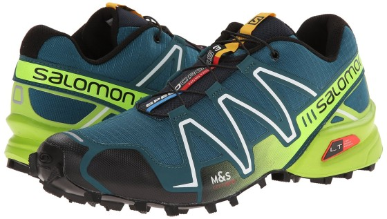 The Salomon Men's Speedcross 3 Trail Running Shoe are water resistant and winter-ready. They have a protective toe cap and have excellent traction on snow, slush and ice.