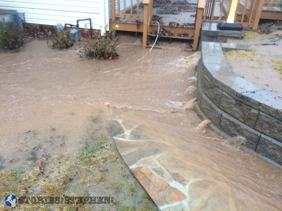 This section filled up quickly during the heaviest rainfall and flooded up through the deck.