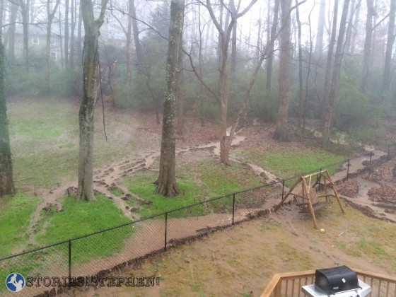We had several heavy streams of water flowing into our backyard.