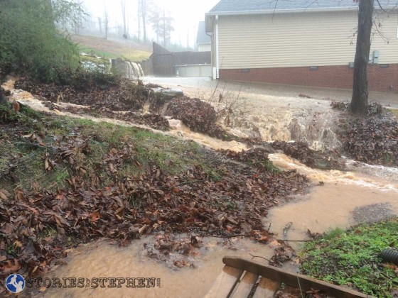You can also see water flowing off our neighbor's driveway into our drainage ditch on 1 side of the yard.