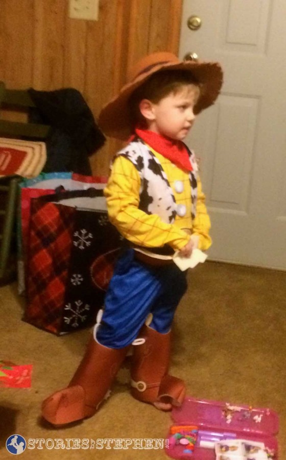 Sam in his new Woody costume, just 1 of the many costumes he received for Christmas.