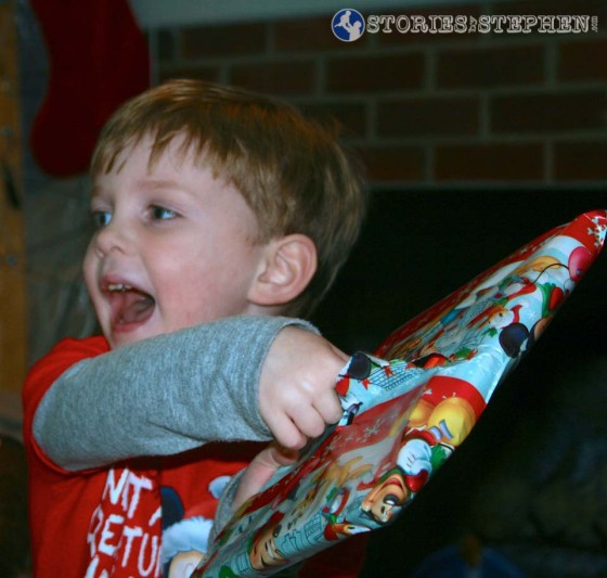 Sam was ecstatic when he saw what was inside this wrapping paper... his new iPad Mini!
