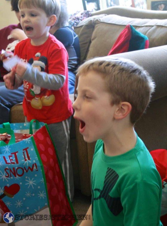 Will and Sam excited for Christmas at my sister's house.