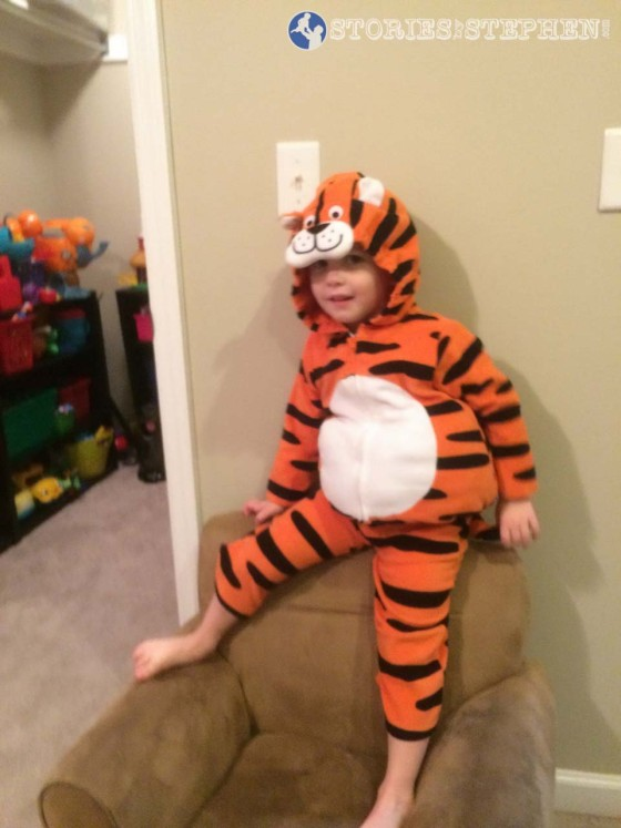 Sam did not go to the Birmingham Bowl with us, but he was still excited to dress up like Tom the Tiger and help us get pumped up for Memphis Tigers football!