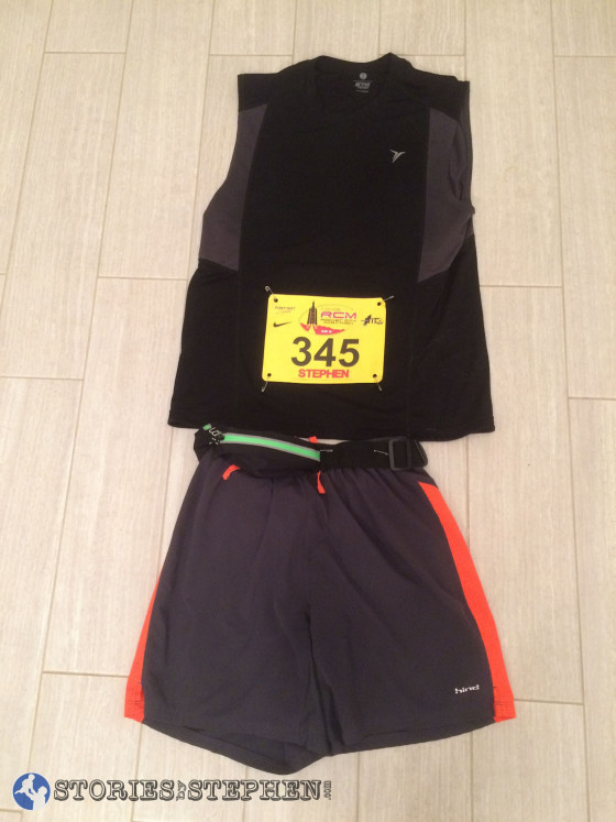 I had my marathon shorts, tank and running belt ready 2 days before the race.