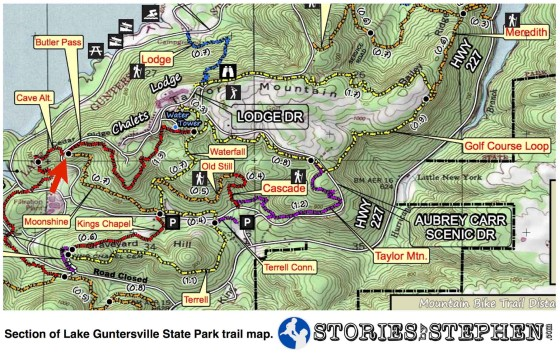 The red arrow marks the intersection of the Butler Pass and Moonshine Trails at Lake Guntersville State Park.