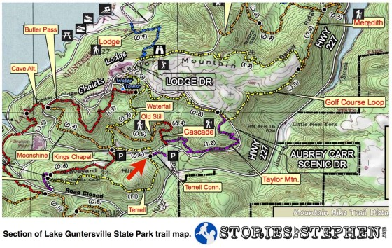 The red arrow marks the Terrell Connector Trail at Lake Guntersville State Park.