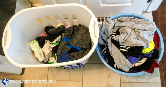 The laundry basket on the left holds socks, underwear, pajamas and comfy clothes that are ok being slightly wrinkled. The laundry basket on the right holds clothes for school and work that will need to be folded properly or put on hangers before they get wrinkled.