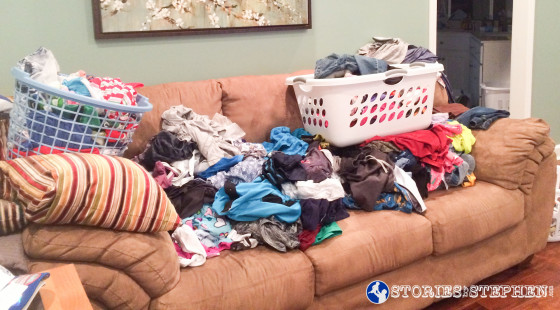 These clothes are all clean, but this is what happens when I wash a few loads of laundry without properly sorting the clothes. They end up sitting in a giant, wrinkled pile for days.