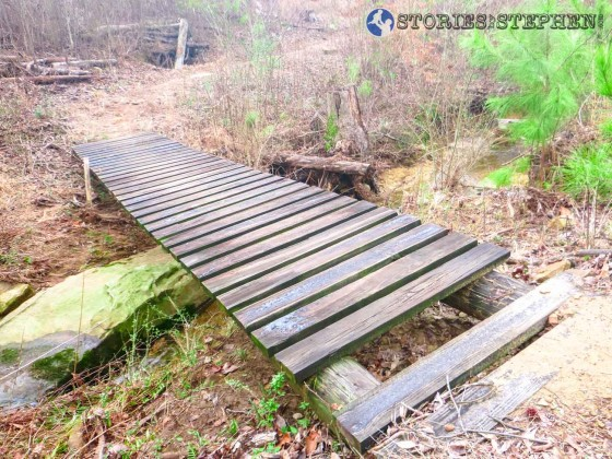 This wooden bridge on the Golf Course Loop is usable, but it could use some maintenance.
