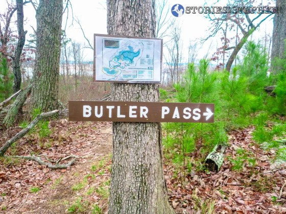 Sign marking the western end of the Butler Pass Trail.