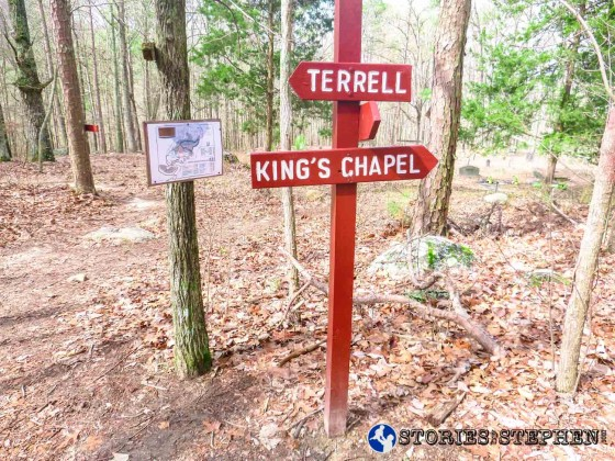 Terrell and King's Chapel Trails intersect by the cemetery.