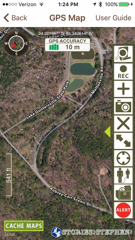 The state park app has built-in GPS tracking.
