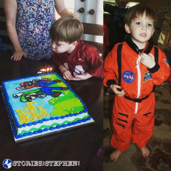 My adorable astronaut son on his 4th birthday... His Mario cake was too tempting to resist, and it led to several diet of cheating on the Primal Diet.