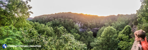 Will watches the sunset over Foster Falls.