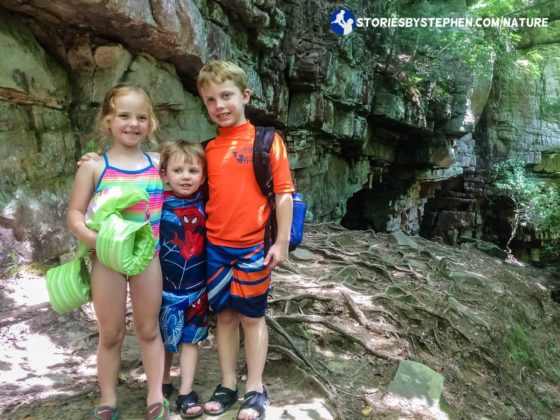 The kids are excited to find Greeter Falls, and they are anxious to swim too.