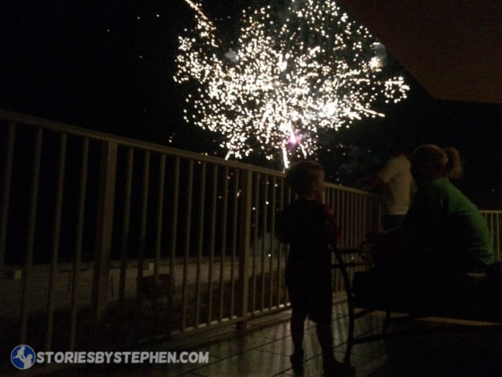Our balcony view of the Flora-Bama fireworks show on July 4, 2016.