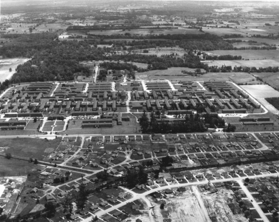 Aerial view of Kennedy Veterans Hospital in the late 1940s.